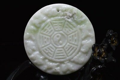 Chinese natural White  jade carved amulet Pendant Necklace Zodiac gossip 44