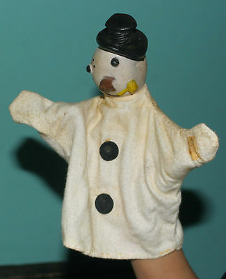 "Vintage Soft Rubber Snowman  HAND PUPPET Cloth Body 9"" x 6"""