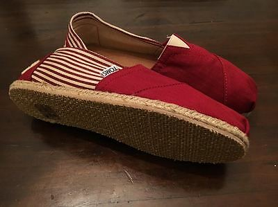 Authentic TOMS Red Striped Women's Classics Size 9 Flats Brand New Never Worn