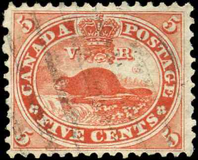 Canada #15 used XF 1859 First Cents Issue 5c vermilion Beaver CV$50.00
