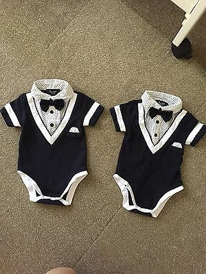 2 X Bardot Baby Boy Suit Outfit One Piece, Twins 000