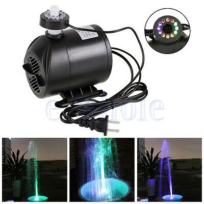 Submersible Water Pump with 12 LED Lights for Fountain Pool Garden Pond Fish GW