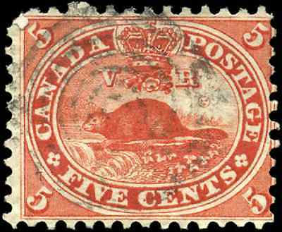 Canada #15 used F 1859 First Cents Issue 5c Beaver '67 C.W.' Split Circle cancel