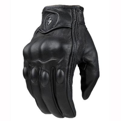 Top Guantes Fashion Glove real Leather Full Finger Black moto men Motorcycle ...