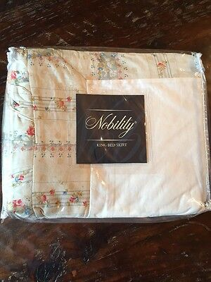 """New! King-Size Shabby Chic Cottage French Country """"Nobility Bedskirt 100% Cotton"""