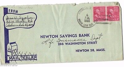 Usa Cover 1958 To Newton Savings Bank, Newton, Mass From Bread Loaf Rural Sta