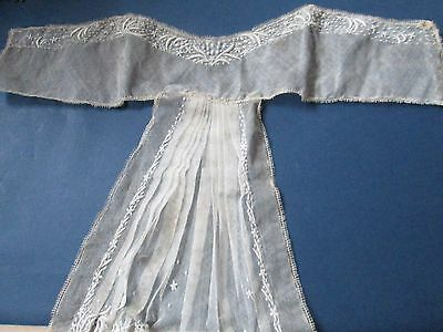 Antique Victorian neck lace collar embroidered from  white & black net lace/FRA