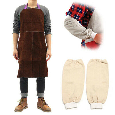 60x90cm Cow Leather Welding Apron Welder Heat Insulation +Protection Sleeves Set