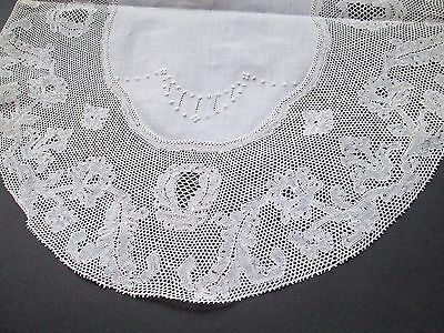 Antique  hand embroided doillie with Flanders on linen-Belguim