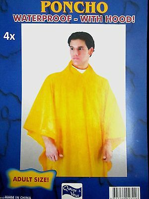 4x Reusable Ponchos Emergency Rain Coats Adult Raincoat Poncho Camping Hiking