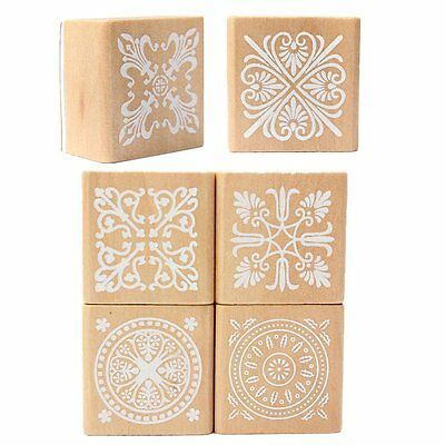 6 Assorted Wooden Stamp Rubber Seal Square Handwriting DIY Craft Flower Lac G1V5