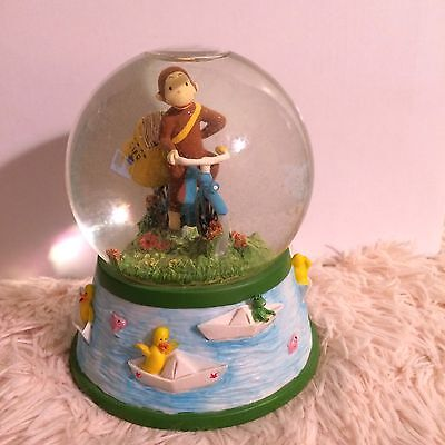 Vintage Curious George 1998 Bicycle Built For Two Musical Snow Globe