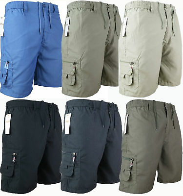 Mens Plain Elasticated Shorts Cotton Cargo Combat Summer Holiday Pants New