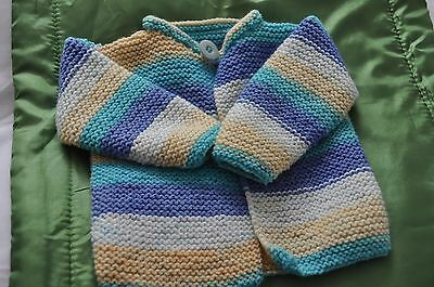 Designer Hand Knitted Baby's Cardigan in Blue, Turqouise, Cream and White