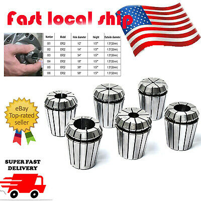 """US 6Pc Spring Collets SET  1/2"""" to 5/8"""" ER32 Collet For CNC Engraving Machine"""