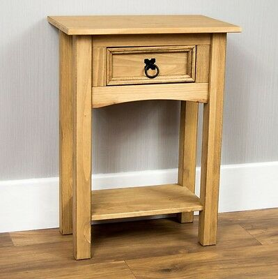 Wooden Side Table Drawer Shelf Brown Telephone Stand Small Storage Unit Pine New
