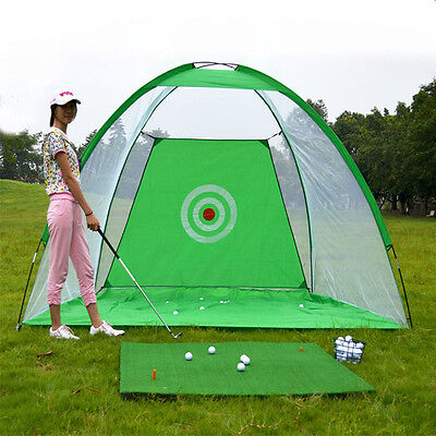 Foldable Golf Hitting Cage Practice Net Trainer + Training Aid Mat + Driver Iron