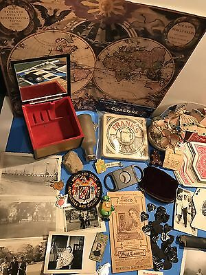 Junk Drawer Lot Old Vintage Items Musical Jewelry Box Old Black & White Photos