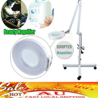 Magnifying Lamp 5X Illuminated Light Glass Lens Rolling Stand Beauty Magnifier