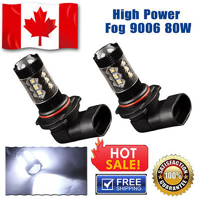 2 X 7000K White 9006 HB4 80W 1920LM High Power Projector LED DRL Fog Light