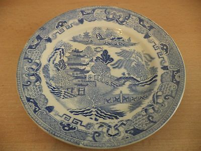 Old Vintage Antique Blue & White China Willow Pattern Plate Unmarked