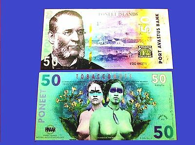 50 Kasutu banknote 2016 Poneet Islands Limited Issue to 600 UNC Tobacco Twins