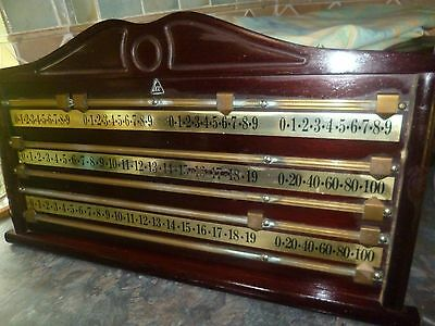 Score board. Snooker table. Brass fittings and solid wood.
