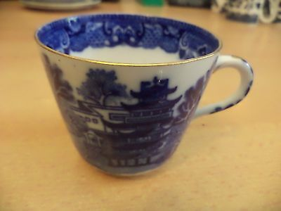 Old Vintage Antique Unmarked Blue & White China Willow Pattern Tea Cup