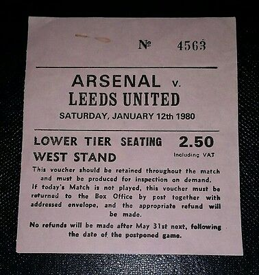 1979/80 ARSENAL v LEEDS UNITED   Division one original match  ticket