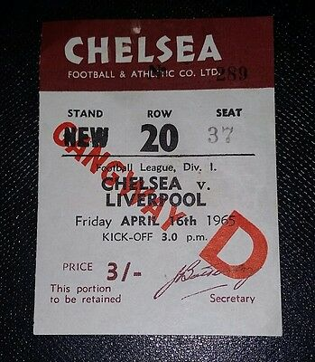 1965/66 CHELSEA v LIVERPOOL     Division one original match  ticket
