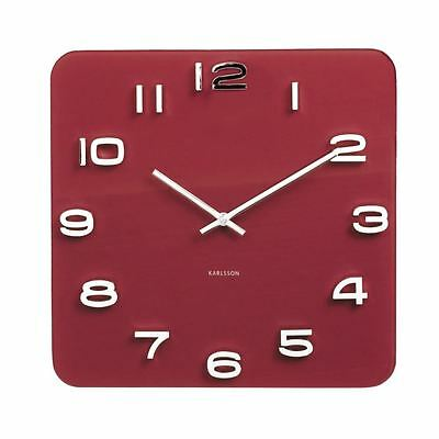Karlsson Vintage Glass Wall Clock Burgundy Red Numbers Square Retro