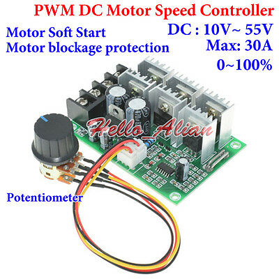 PWM DC Motor Speed Controller DC 10~55V 12V 18V 24V 48V 30A Motor Soft Start New