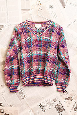 Vintage 80's Lilly of California Sz M, V-Neck Plaid Sweater Retro Hipster