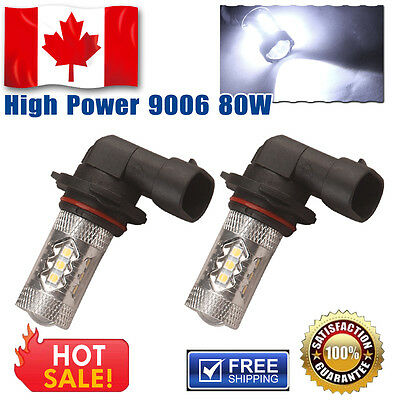 2 X 12V-24V Super White High Power 80W 9006 HB4 LED Fog Driving Lights 1920LM