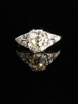 Edwardian 18Ct Old Cut Diamond Ring 1.33Ct Vs2 And Tinted Lemon Ring