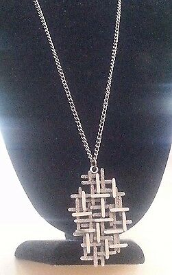 1970s brutalist Silver-tone Textured  necklace