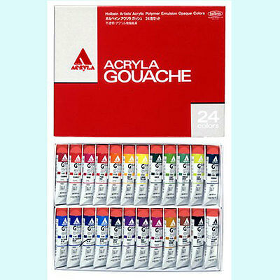 Holbein Artists'  Gouache Opaque Water Colors 24 Colors Set Brand-New Japan