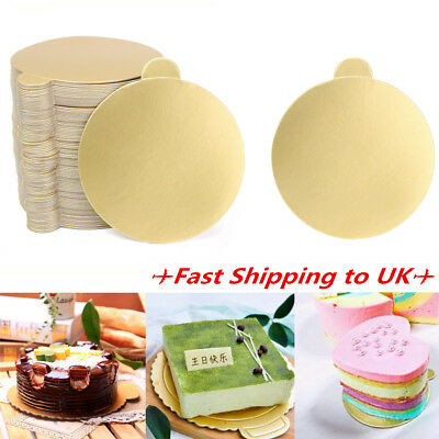 100Pcs Cake Boards 3'' Round Mousse Gold Decoration Displays Wedding Pastry