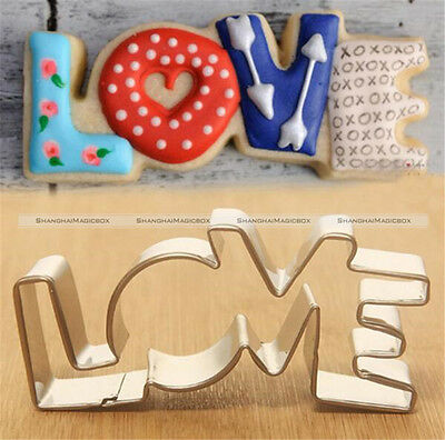 Love Design Stainless Steel Cookie Cutter LOVE Letter Shape Biscuit Mold S1