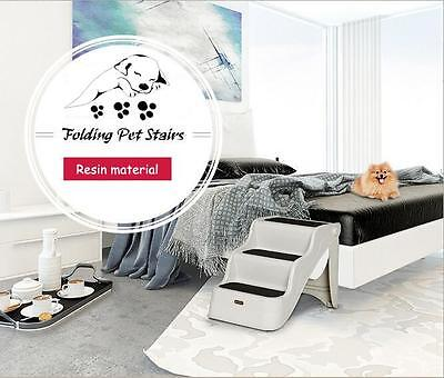 Foldable Dog Stairs Pet Ramp Ladder to get on High Bed and 3 steps Cats Dogs