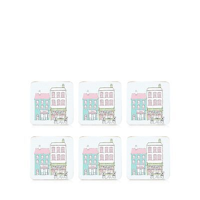 At Home With Ashley Thomas Pack Of 6 Pale Blue Street Print Coasters