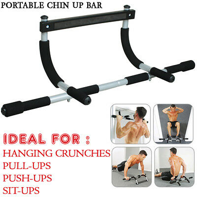 Portable Pull Up Bar Doorway Door Mount Workout Exercise Chin Push Up Home Gym