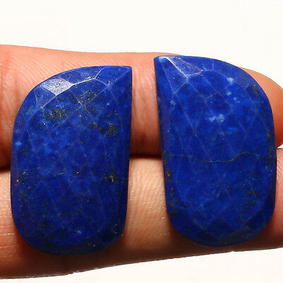 FACETED LAPIS LAZULI PAIR GEMSTONE CABACHON  FANCY SHAPE 31 Carat