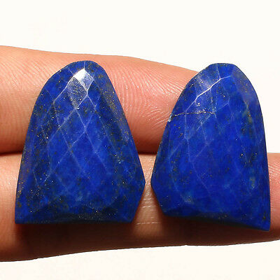 FACETED LAPIS LAZULI PAIR GEMSTONE CABACHON  FANCY SHAPE 33 Carat