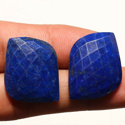 FACETED LAPIS LAZULI PAIR GEMSTONE CABACHON  FANCY SHAPE 30 Carat
