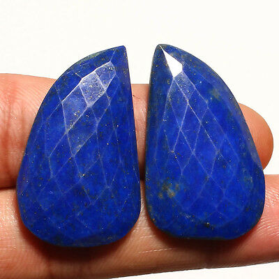 FACETED LAPIS LAZULI PAIR GEMSTONE CABACHON  FANCY SHAPE 40 Carat