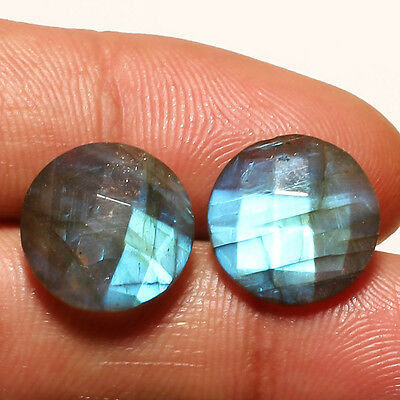 FACETED LABRADORITE GEMSTONE CABACHON  ROUND SHAPE 20 Carat