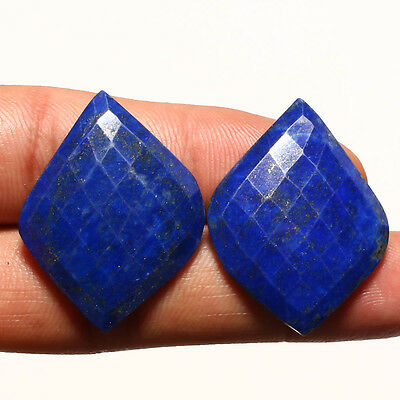 FACETED LAPIS LAZULI PAIR GEMSTONE CABACHON  FANCY SHAPE 37 Carat
