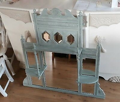 Painted Edwardian Mahogany Overmantle Mirror.