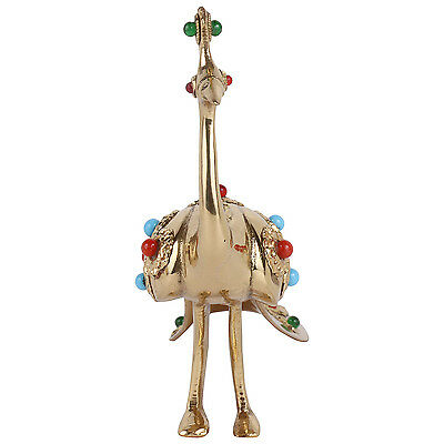 Imperial Handicraft Brass Peacock Gift Collectible With Stone
